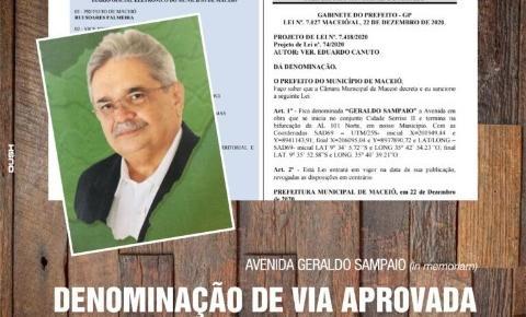 Projeto do Vereador Eduardo Canuto faz homenagem e modifica o nome da Ecovia Norte para Avenida Geraldo Sampaio